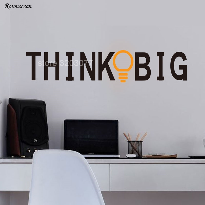Motivational Wall Sticker Study Inspirational Office Decor Quote Think Big Light Bulb Vinyl Self Adhesive Wallpaper SK16
