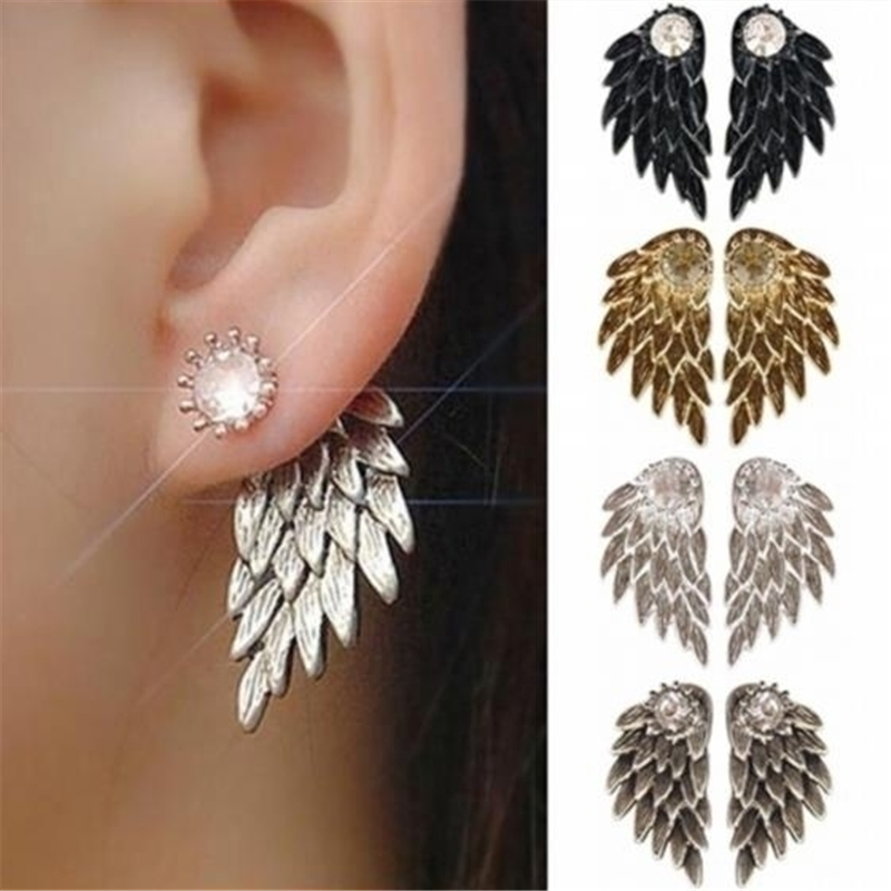 New Women's Vintage Punk Angel Wings Alloy Crystal Stud Earrings Fashion 4 Colors Stud Earrings for Party Club Wholesale Jewelry