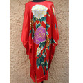 New Fashion Red Female Classic Night Gown Loungewear Vintage Bathrobe Chinese Style Casual Home Wear Vintage One Size NS0035
