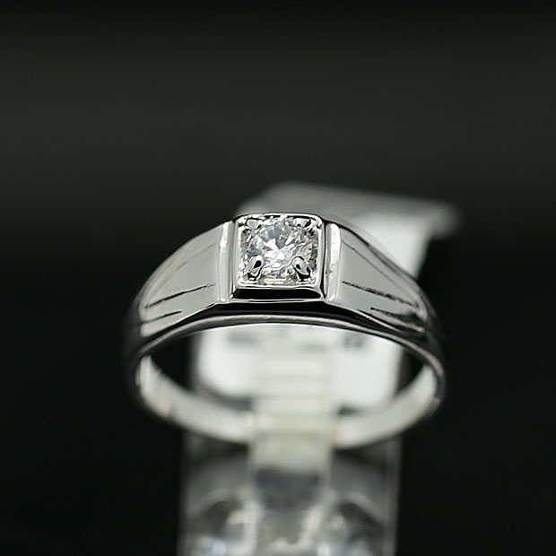 Fashion 18k Platinum Color Artificial Diamond Ring Quality Men
