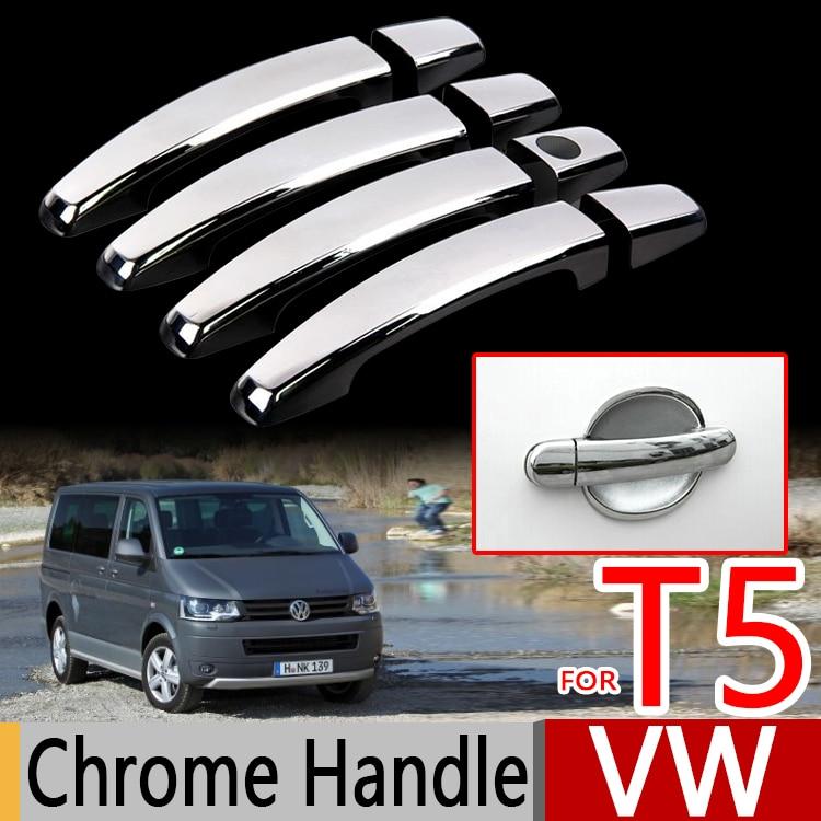 For VW T5 2003-2009 Chrome Door Handle Covers Trim Set Volkswagen Transporter Multivan Car Accessories Car Styling TDI FSI TSI