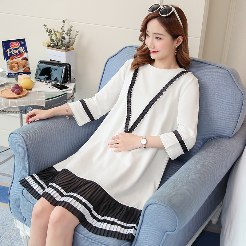 Lace Maternity Clothing Summer Preppy Style Pregnancy Dress Embroidery Loose Lace Maternity Clothes For Pregnant Women