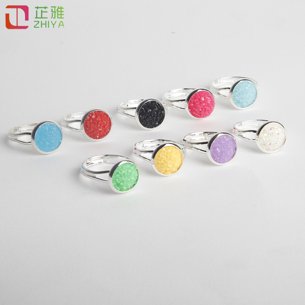 Silver Color Open Adjustable Women Ring Summer Candy Rhinstone Finger Fashion Jewerly Rings Drusy Gem Accessories Gift
