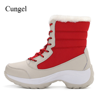 Cungel Outdoor Winter Sneakers women Hiking shoes Keep warm plush Ankle boots Anti skid Snow boots Trekking Mountain climbing