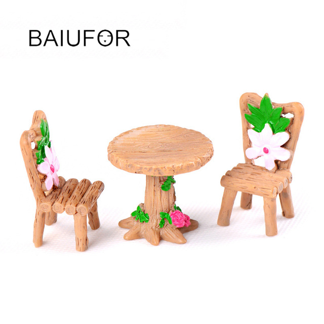 BAIUFOR Mini Home furniture Table and Chair Fairy Garden Miniatures Terrarium Figurines Doll House Decor Doll House Accessories 3
