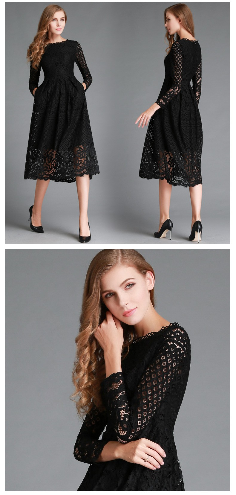 Beauty Long Sleeved Lace Dress 5