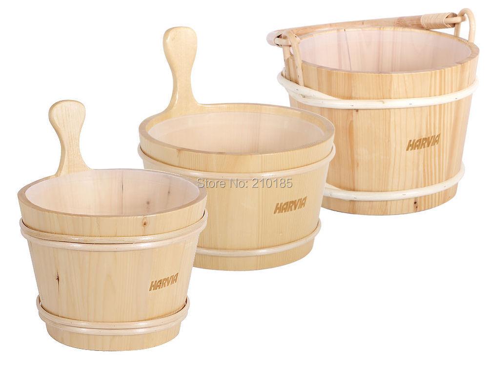 Harvia 4L Cubo De Madera con accesorios sauna scoop SAC10107 en una caja de cartón