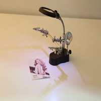 3 5x 12X LED Light Magnifier Desk Lamp Helping Hand Repair Clamp Clip Stand Desktop Magnifying