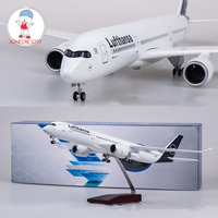 50.5CM 1/142 Scale Diecast Airplane Airbus A350 Lufthansa Airline Model With Bases Wheels Resin Plane For Collection