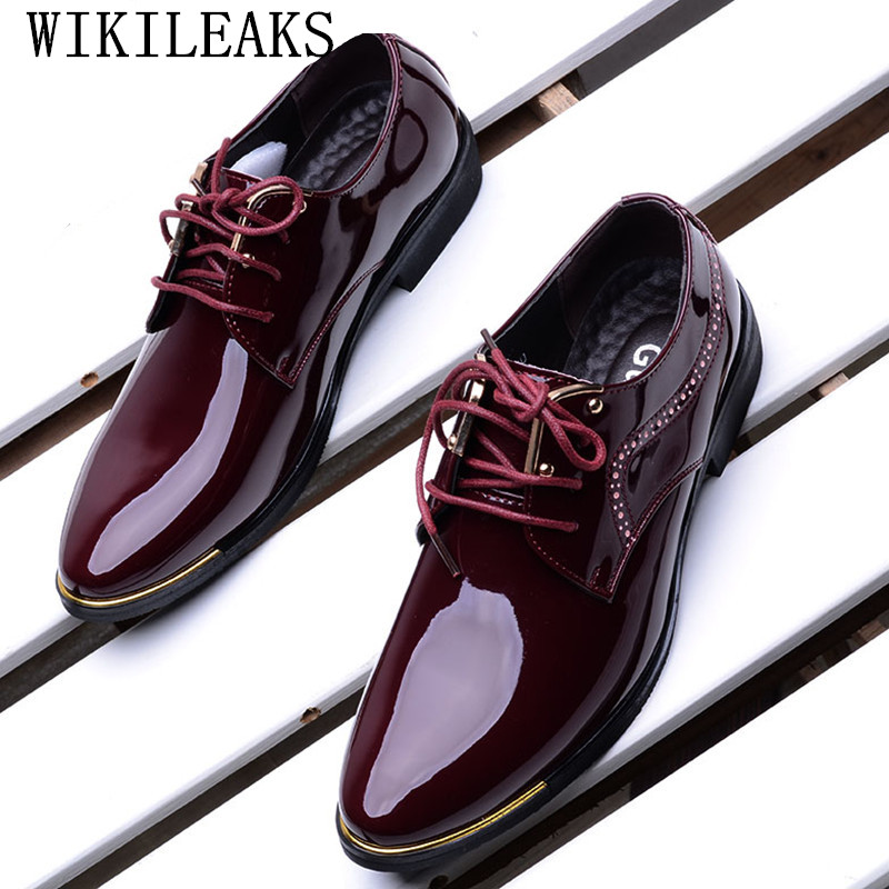2018 formal men shoes zapatos hombre casual sapato masculino dress wedding shoes patent leather shoes men oxford shoes for men