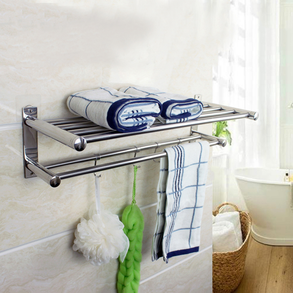 Double Layer Bathroom Storage Rack Hanger <font><b>Stainless</b></font> <font><b>Steel</b></font> Wall-Mounted <font><b>Towel</b></font> Shelf Rack Holder Bathroom Organizer