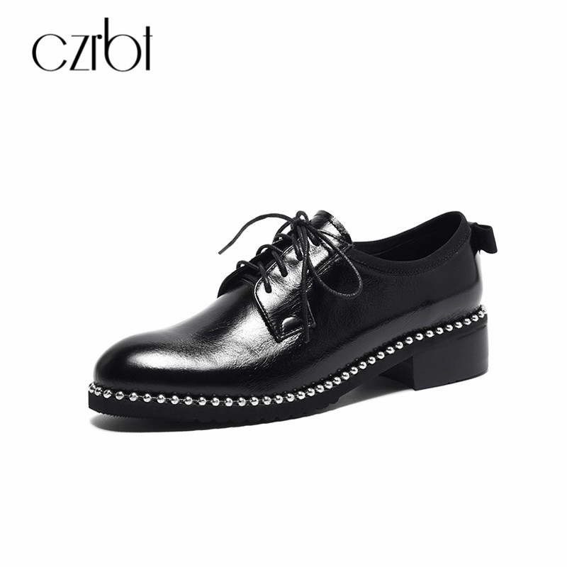 CZRBT Big Size Women Shoes Classic Genuine Leather Oxfords Shoes Women String Bead Lace Up Flat Shoes Casual Flats Ladies Shoes