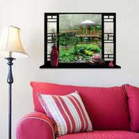 Novo Adesivo De Parede Nova 3D Falsa Paisagem Cenário Janela Do Quarto Adesivos Casa Decoração Sala de estar Para Quartos Dos Miúdos Adesivo De parede