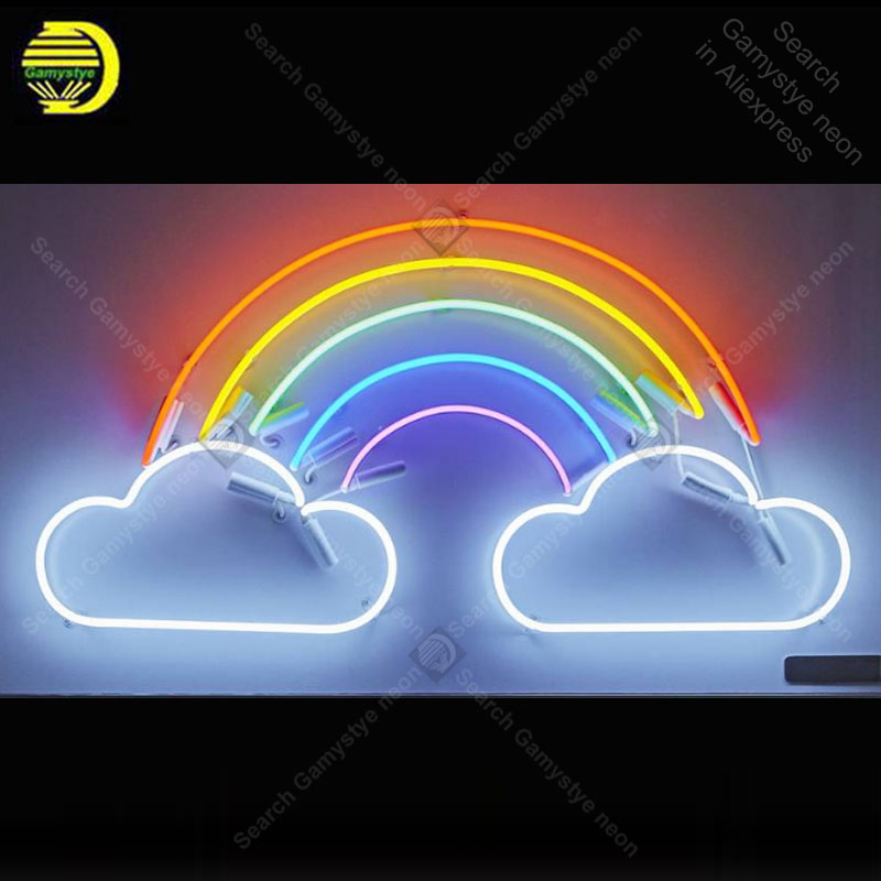 Neon Sign For Rainbow And Clouds Neon Sign Home Improvement Handicraft Store Real Glass Tubes White Board Bar Room Accesaries