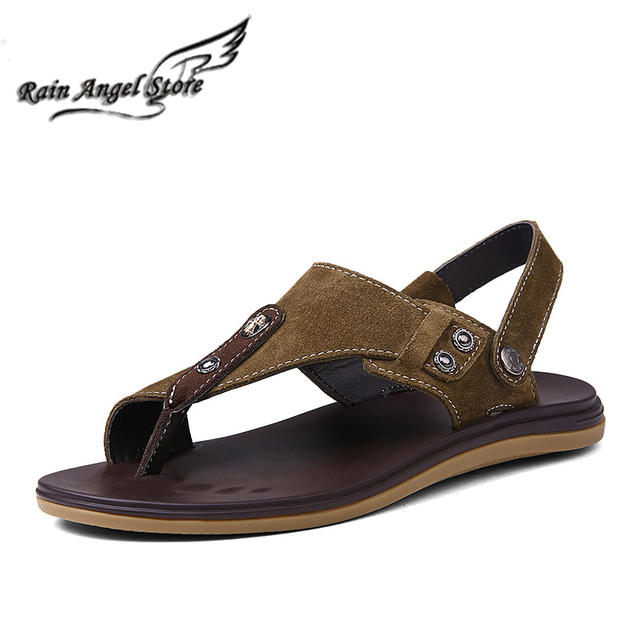 92a55b53b5f1 Top Quality Beach Shoes Slippers Retro Men Leather Sandals Summer Suede Clip  Toe Sandals And Slippers