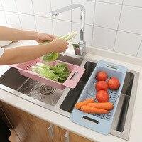 Regulowany zlew suszarka do naczyń słomy kosz spustowy warzyw koszyk na owoce pojemnik do przechowywania zastawy stołowej stojak koszyk na pranie kuchnia przechowywanie w Półki i uchwyty od Dom i ogród na