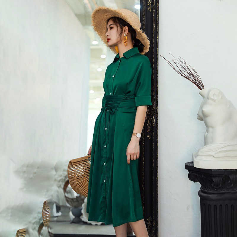 TWOTWINSTYLE шифоновое платье женское кружевное с коротким рукавом с высокой талией сексуальное длинное раздельное платье Летнее женское 2019 модное элегантное