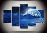 Unframe Printed Blue Sea Ice Water Cold Night Planets And Stars Group Painting Room Decor Print Poster Picture Canvas Cuadros