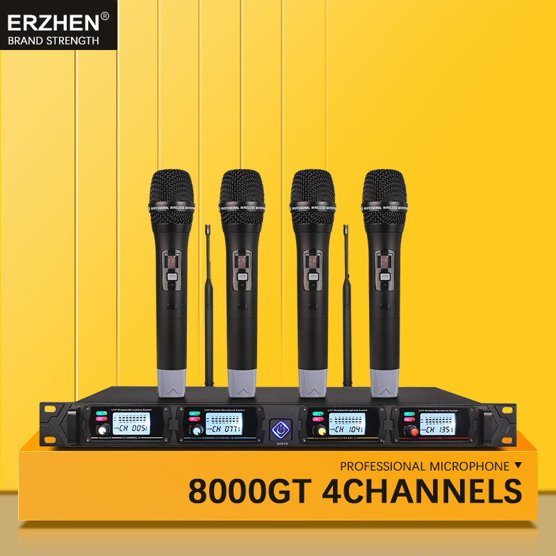 Système de microphone sans fil 4 canaux 8000GT canaux UHF professionnels microphone dynamique professionnel 4 microphone karaoké