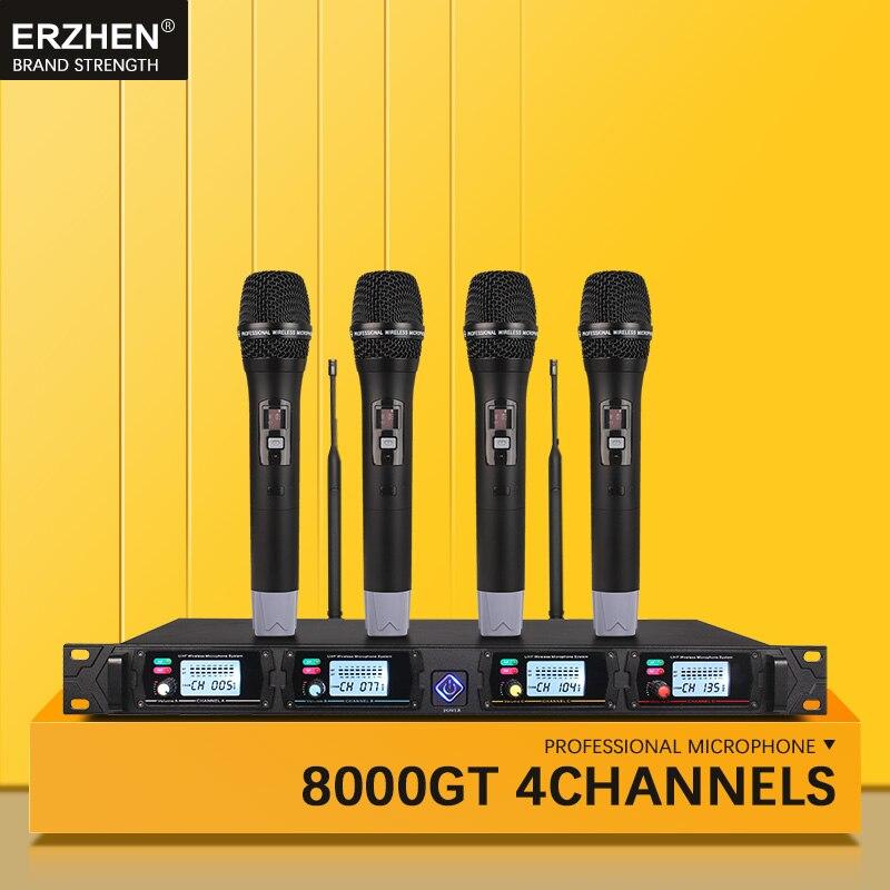 Système de microphone sans fil professionnel ERZHEN UHF4 canal poche revers condensateur casque karaoké microphone studio 8000G micro