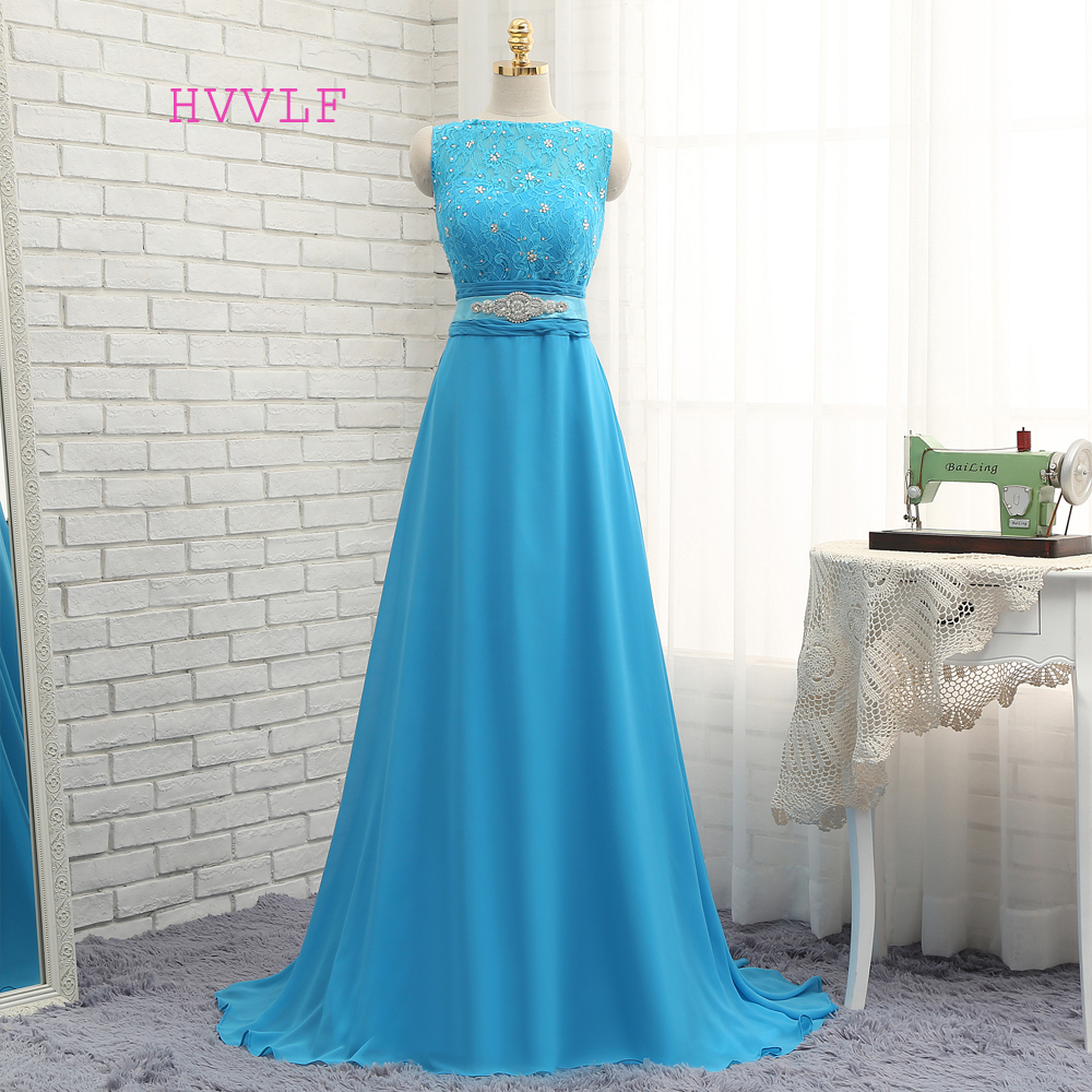 HVVLF 2019 Cheap Bridesmaid Dresses Under 50 A-line Floor Length Chiffon Lace Beaded Blue Wedding Party Dresses