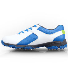 2017 Men's Golf Shoe Leather Sport Shoes Men EVA Midsole Breathable Waterproof (Blue White)