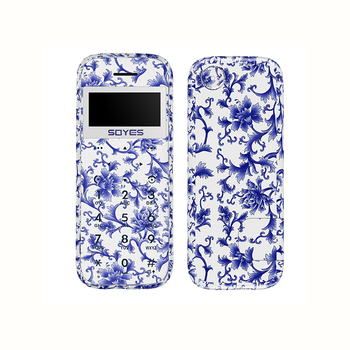 Soyes M11 Wood Shell Ultra Thin Mini Card Mobile Phone Pocket Students Low Radiation Cellphone Blue And White Porcelain Grain telephony