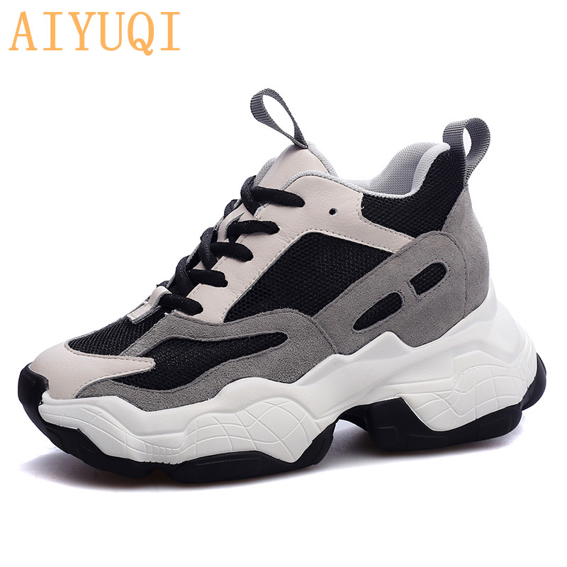 AIYUQI Comfy breathable mesh women's platform sneakers genuine leather women shoes height Increasing casual female shoes