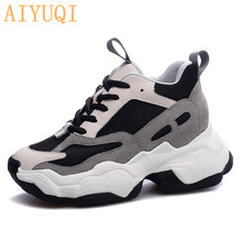 AIYUQI Comfy breathable mesh womens platform sneakers genuine leather women shoes height Increasing casual female