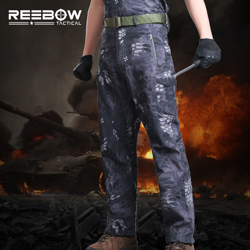 REEBOW TACTICAL Outdoor Men Winter Fleece Hiking Pants Softshell Thermal Breathable Hunting Sports Camping Camouflage Trousers