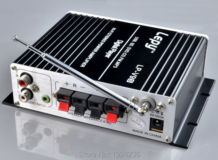2015 nouveau 12 V mini voiture Lepy HI-FI numérique V9S USB FM amplificateur de puissance numérique multifonction petit amplificateur de puissance audio Hi-Fi