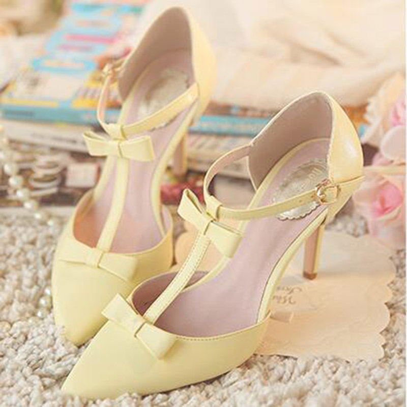 Slim Pointed Toe High Heels Cut Outs Elegant Buckle Funky Stilettos Side Hollow Single Shoes Mary