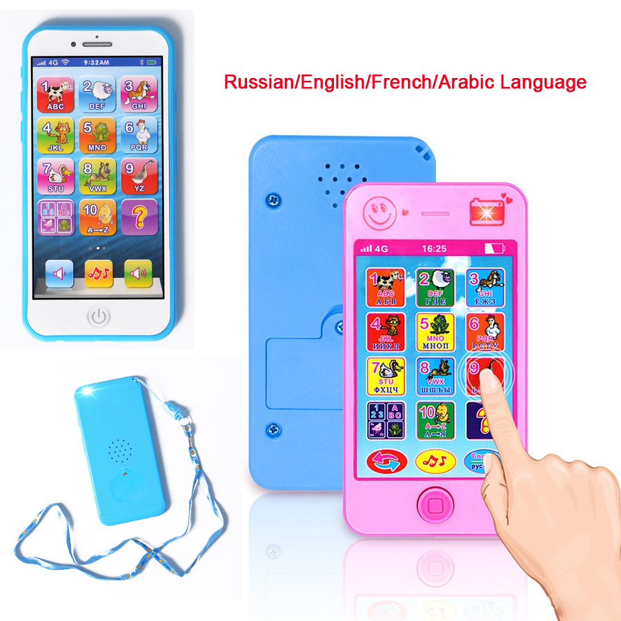 Russian/English/French/ Arabic Language Alphabet Simulation Musical Mobile Smart Phone Toys Early Learning Educational Toys