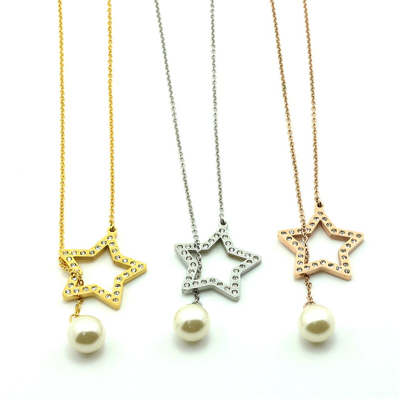 Luxury gold color Starfish Pendants Necklaces with White Pearl Chain Charm Star Pendant Choker Necklace Jewellery For Gir