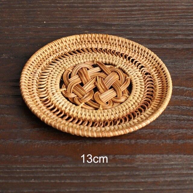 Natural Rattan Coaster Tea Cup Mat Pot Heat Resistant Cup Mug Mat Coffee Tea Hot Drink Posavasos Placemat Kitchen Decor