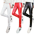 PU leather leather pants men's cultivate one's morality letters printed character zipper foot leggings