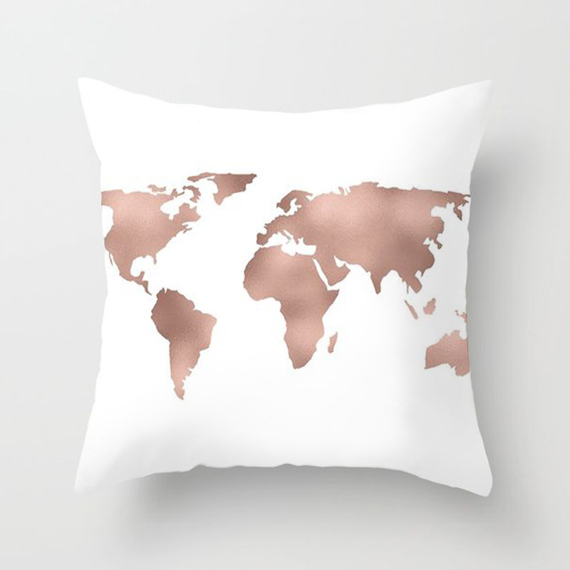 sqaure pillow case rose gold geometric