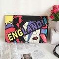 2016 nuevas mujeres del diseñador inglaterra Doodle Graffiti impreso Envelope Bag bolso único