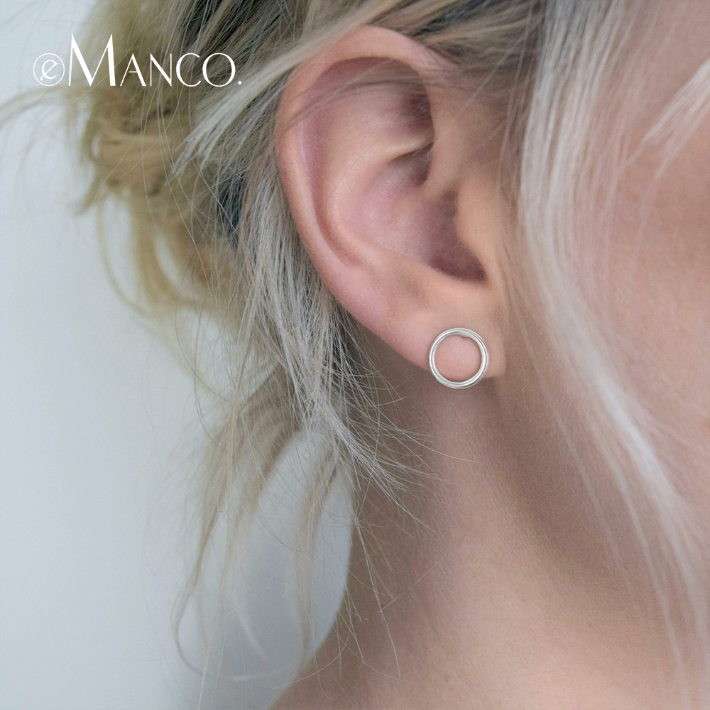 e-Manco 925 Sterling Silver Stud Earrings for Women Simple Round Circle Stud Earrings Geometric Fine Jewelry Gifts New Arrivale-Manco 925 Sterling Silver Stud Earrings for Women Simple Round Circle Stud Earrings Geometric Fine Jewelry Gifts New Arrival