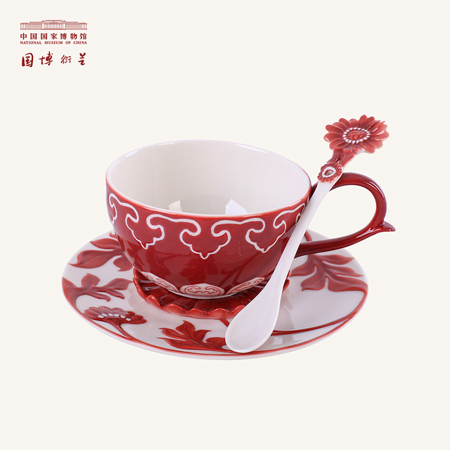 NATIONAL MUSEUM OF CHINA Floral Patterned Tea Sets Porcelain Red Underglazed Unique Traditional Cup Saucer Spoon Sets as Gifts