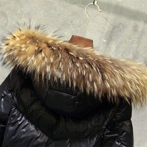 Image 5 - الشتاء النساء Thicked أسفل معطف حجم كبير سيدة رمادي بطة أسفل سترة حجم كبير الفراء مقنع معاطف صامد للريح جاكيتات ملابس خارجية WZ626