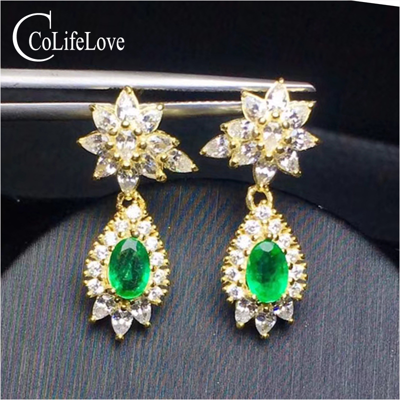 Dazzling silver emerald drop earrings for wedding real natural emerald from Zambia 925 silver emerald earrings