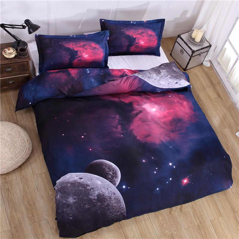 iDouillet 3D Nebala Outer Space Star Galaxy Bedding Set 2/3/4 pcs Duvet Cover Flat Sheet Pillowcase Queen Twin Size 25