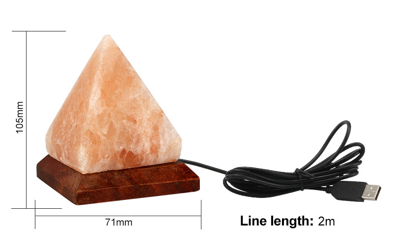 KHLITEC Triangle USB Salt Lamp Hand Carved Purifier Night Light Wooden Base Himalayan Colorful Crystal Rock Lamp Light6