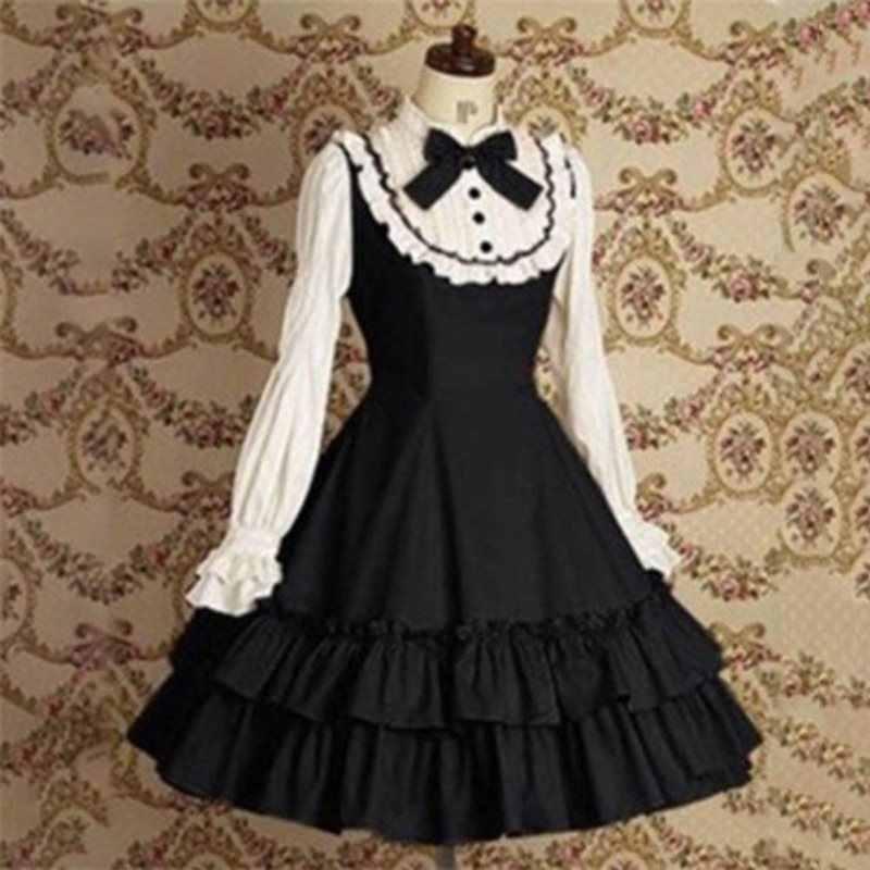 Осень Черный шик Готический Повседневный Плюс размер элегантные винтажные Лолита вечерние женские мини платья плиссированные оборки рукав женское ретро платье