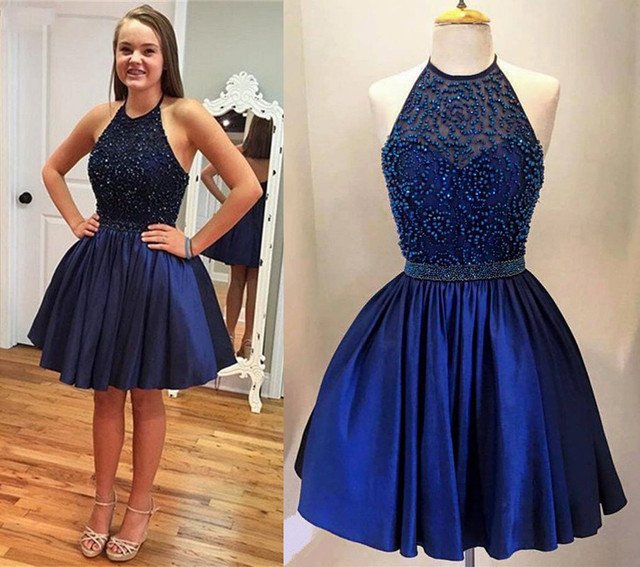 Cheap Blue Knee Length Dress