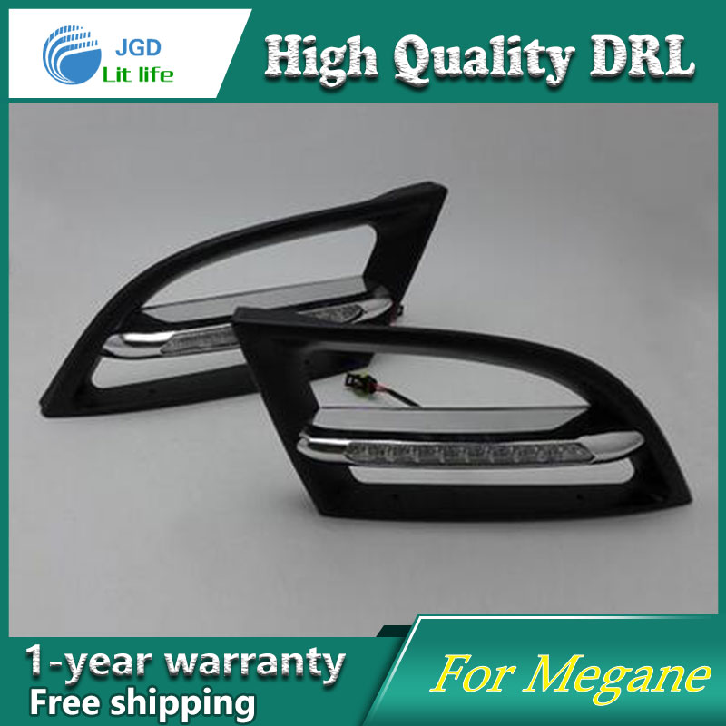 Free shipping !12V 6000k LED DRL Daytime running light case for Renault Megane fog lamp frame Fog light Car styling free shipping 12v 6000k led drl daytime running light case for subaru wrx 2015 2016 fog lamp frame fog light car styling
