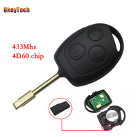 OkeyTech 3 Button Remote Key 433mhz ID60 Chip Entry Control Key Car Fob Cover Case Blade