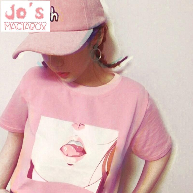 Camiseta Femme 2017 Lábio Sexy TShirt Kawaii Coréia Ulzzang Harajuku Impresso Rosa Das Mulheres T-shirt Casual Solto Tops de Manga Curta
