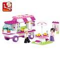 2017 brand new sluban pink dream lanche carro blocos de construção de 102 pçs/set partículas bricks brinquedos meninas compatível com legoe